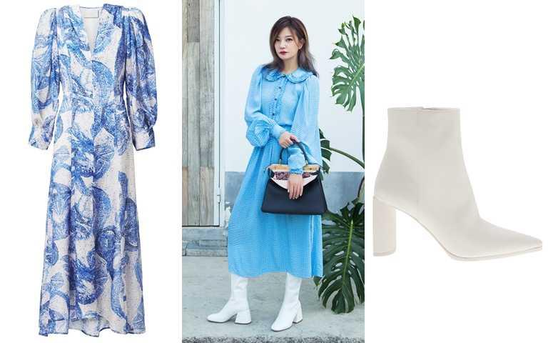 喜歡她的造型妳可以這樣搭!H&M渲染風圖紋長洋裝/價格店洽、CHARLES&KEITH尖頭中筒高跟靴/2,490元(圖/品牌提供)