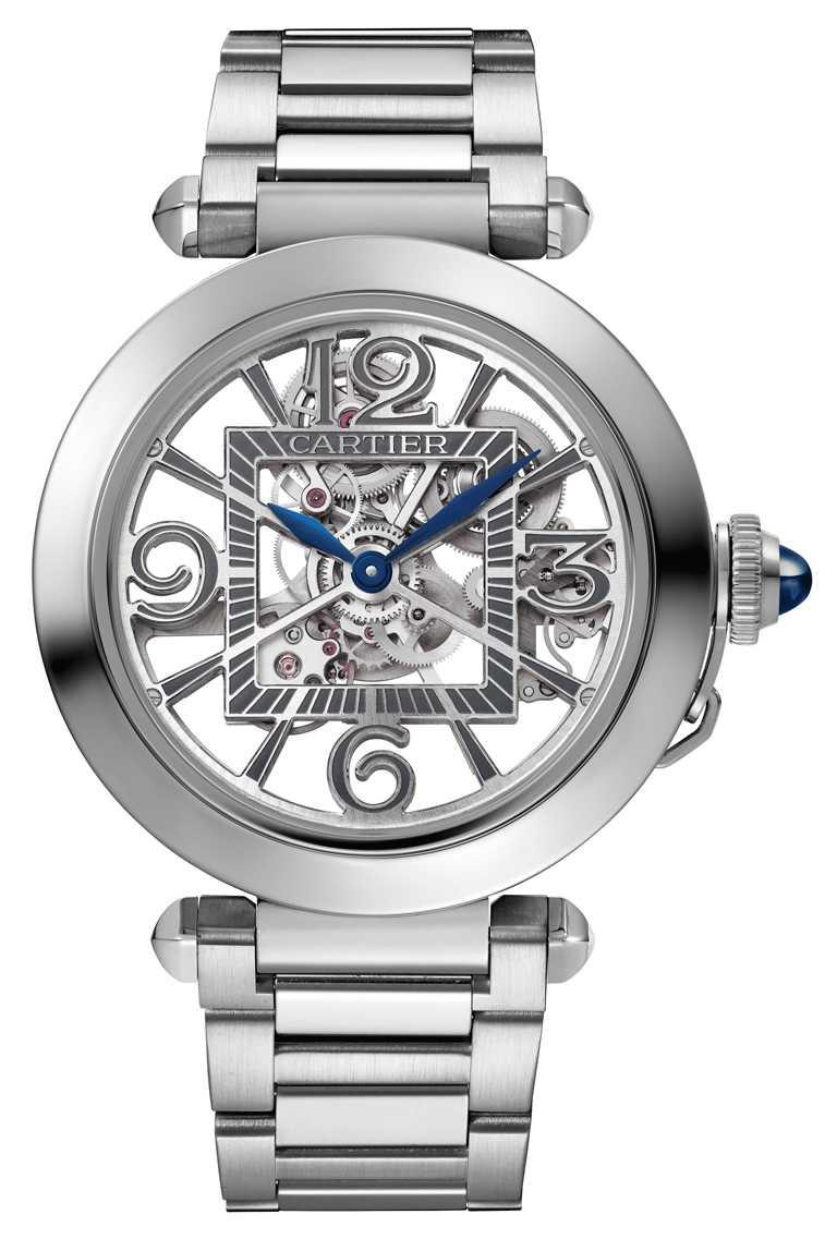 CARTIER「Pasha de Cartier」系列腕錶,精鋼錶殼,41mm,9624 MC型手動上鏈機芯╱780,000元。(圖╱CARTIER提供)