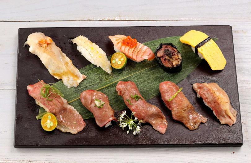 十貫握壽司拼盤。(圖/鉄火燒肉提供)