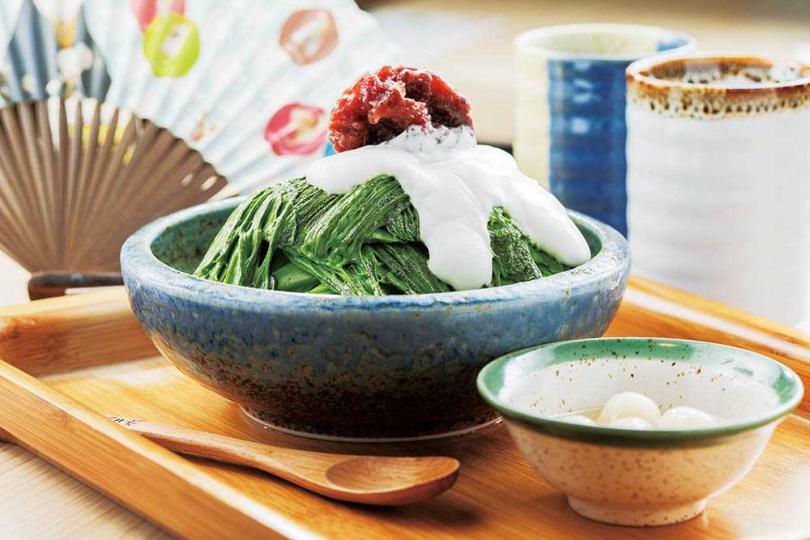 「濃厚若竹抹茶雪花冰」選用日本小山園中最適合甜品的若竹等級抹茶,甘澀滋味濃郁平衡。(200元)(圖/林士傑攝)