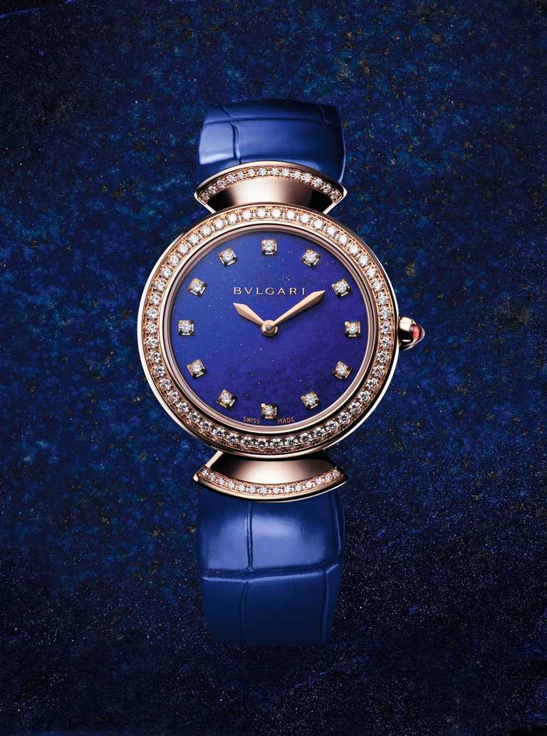 BVLGARI「Divas' Dream」玫瑰金青金石腕錶,30mm,鑽石90顆╱575,000元。(圖╱BVLGARI提供)