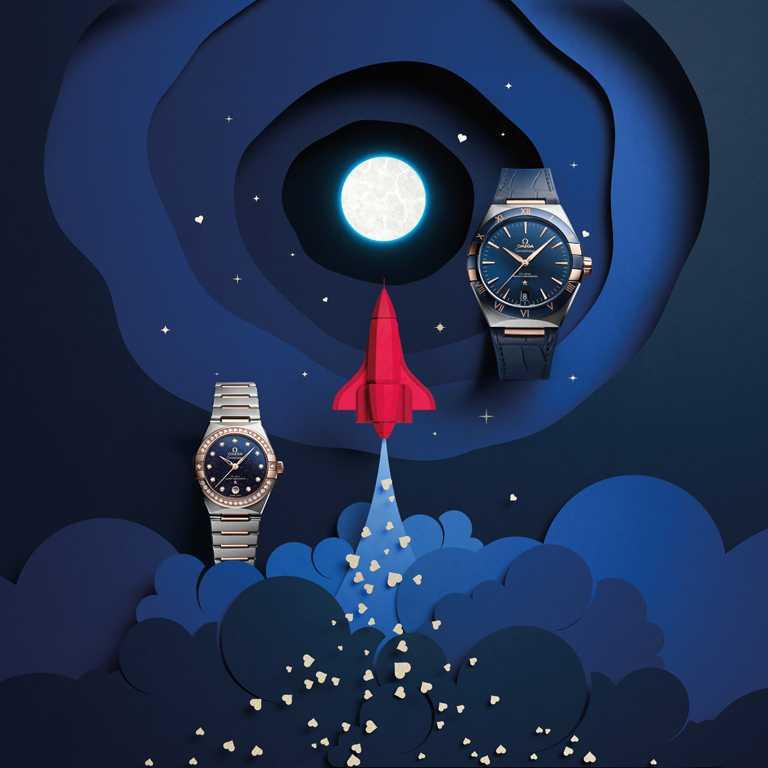 (左)OMEGA「Constellation星座」系列同軸擒縱大師天文台腕錶,29mm,精鋼、18K Sedna金錶殼,鑽石47顆╱460,000元;(右)OMEGA「Constellation星座」系列同軸擒縱大師天文台腕錶,41mm,精鋼、18K Sedna金錶殼╱287,000元。(圖╱OMEGA提供)