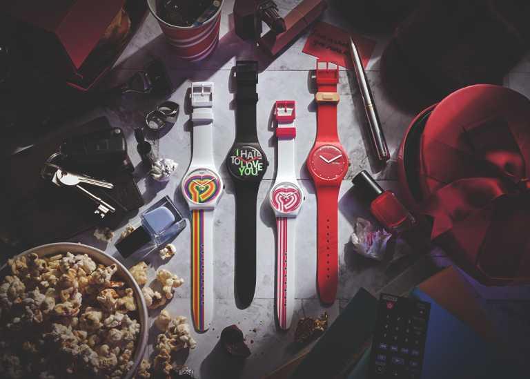 swatch 2021年情人節特別版腕錶,(黑色款)「HATE 2 LOVE我恨我愛你」,41mm╱2,500元;(紅色款)「P(E/A)NSE-MOI愛的OK繃」,41mm╱3,150元。(圖╱swatch提供)