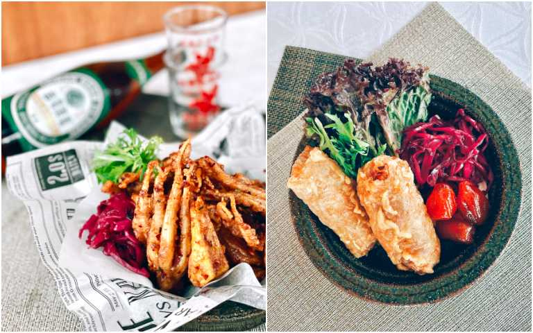 誠實芋到蝦捲(右)、涮嘴秘汁魷魚酥。(圖/有趣市集提供)