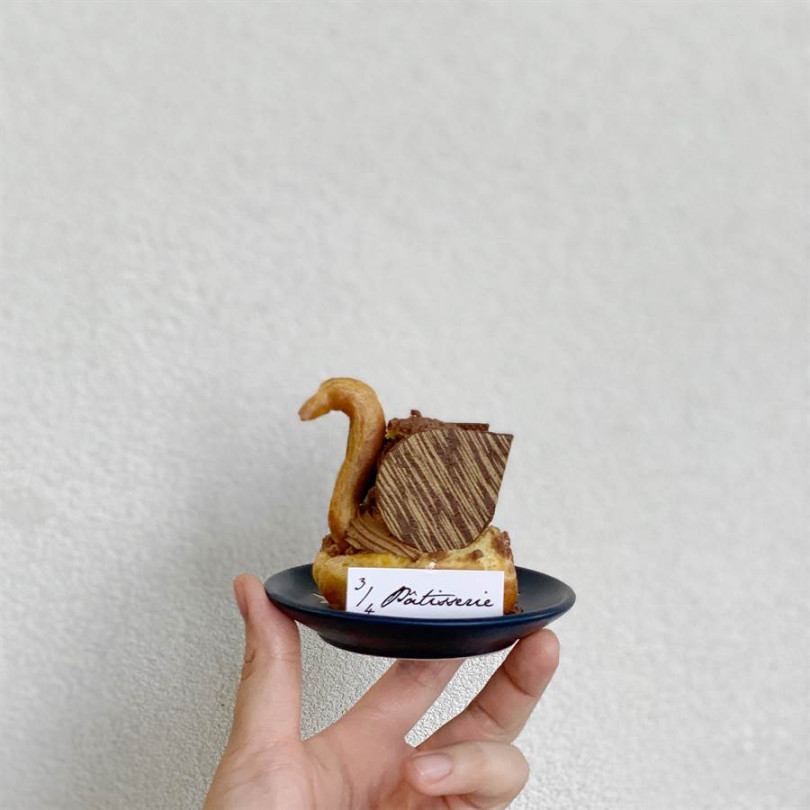 四分之三法式甜點「我的老天鵝」。