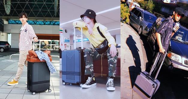 最平凡的度假風,條紋、迷彩、圖騰配上簡潔行李箱也很搭。(圖/mr.lucy___ IG,aayan1120 IG,benwooooo IG)