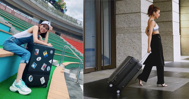女星拿著黑色行李箱也不突兀,休閒或性感風都能駕馭它。(圖/gemma_811 IG,chiaochiao_hsia IG)