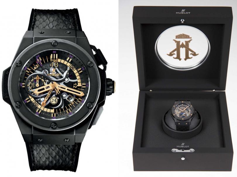 2016年6月,Kobe與HUBLOT三度推出聯名紀念腕錶,發表「Classic Fusion Kobe Bryant HeroVillain」經典融合系列限量腕錶,成為他退役後最有意義的紀念。(圖片提供╱HUBLOT)
