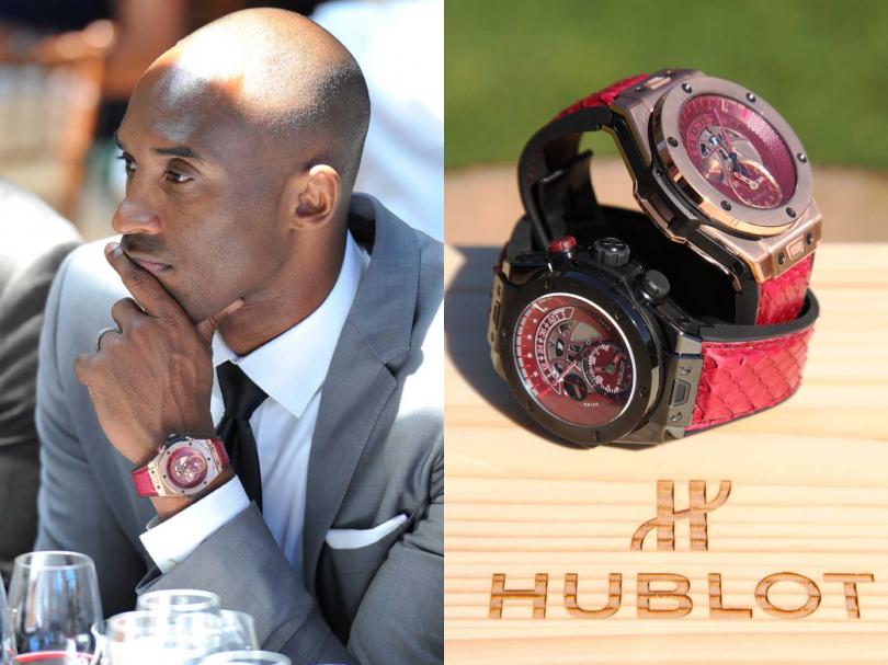"""2015年,Kobe在美國舊金山納帕谷酒莊,與HUBLOT共同發表「Big Bang Unico Retrograde Kobe""""VINO""""Bryant」逆跳限量計時腕錶。(圖片提供╱HUBLOT)"""