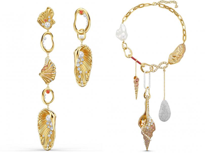 (左)SWAROVSKI「Shell系列」穿孔耳環╱9,990元;(右)SWAROVSKI「Sculptured Shell系列」項鍊╱29,900元(圖片提供╱SWAROVSKI)
