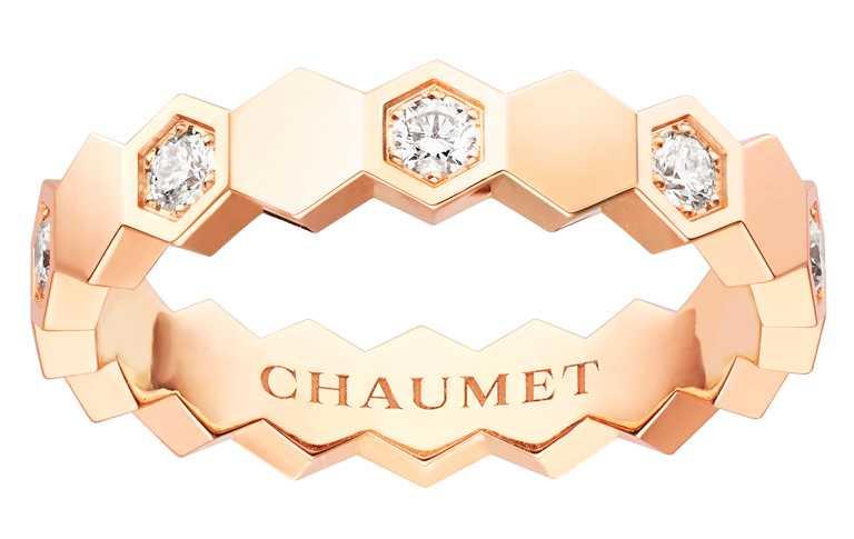 CHAUMET「Bee My Love系列」玫瑰金鑽石戒指╱95,100元。(圖╱CHAUMET提供)