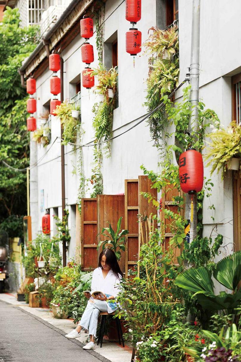 「日好食堂」牆面以綠植和紅燈籠交織,帶出古味與詩意。(圖/于魯光攝)