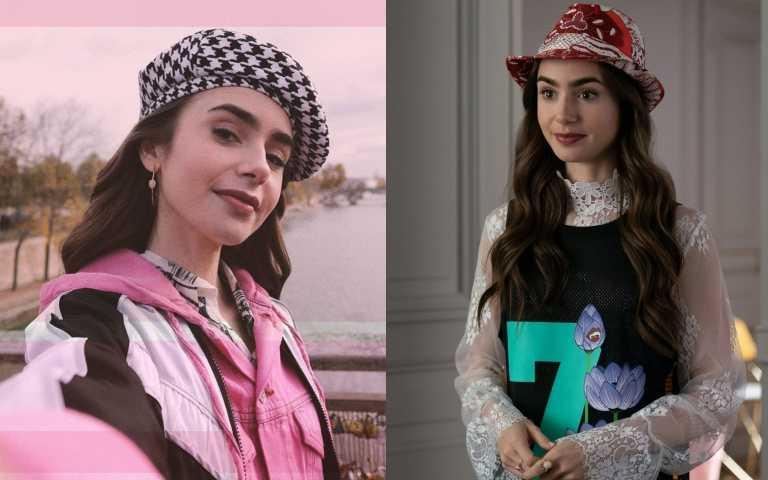 莉莉柯林斯幾乎每一集都要戴帽子作為配件(圖/IG、品牌提供)
