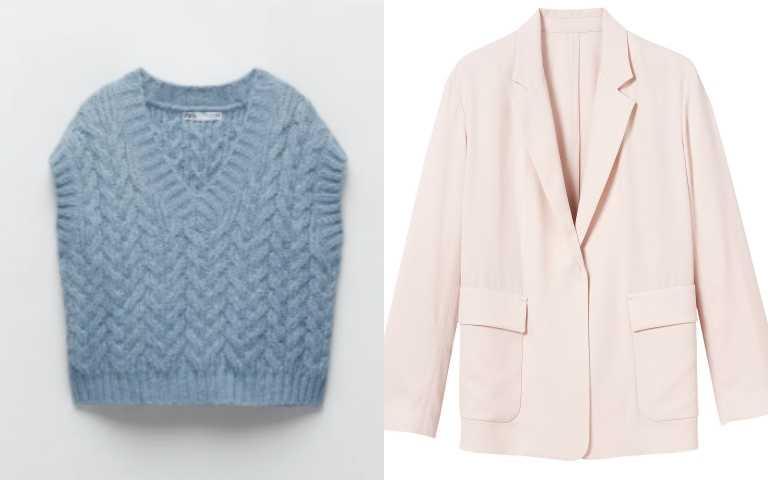 (左) ZARA絞花針織背心/1,290元;(右)Longchamp 2021春夏服裝系列 米色西裝外套/25,800元