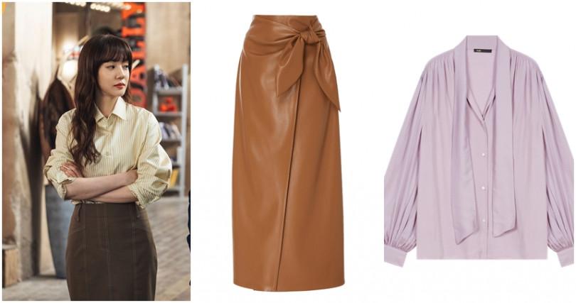 (左)Nanushka焦糖色綁結皮革裙/14,980元(ARTIFACTS) (右)Maje淡紫色公主袖襯衫/9,050元。(圖片/品牌提供、tvn)