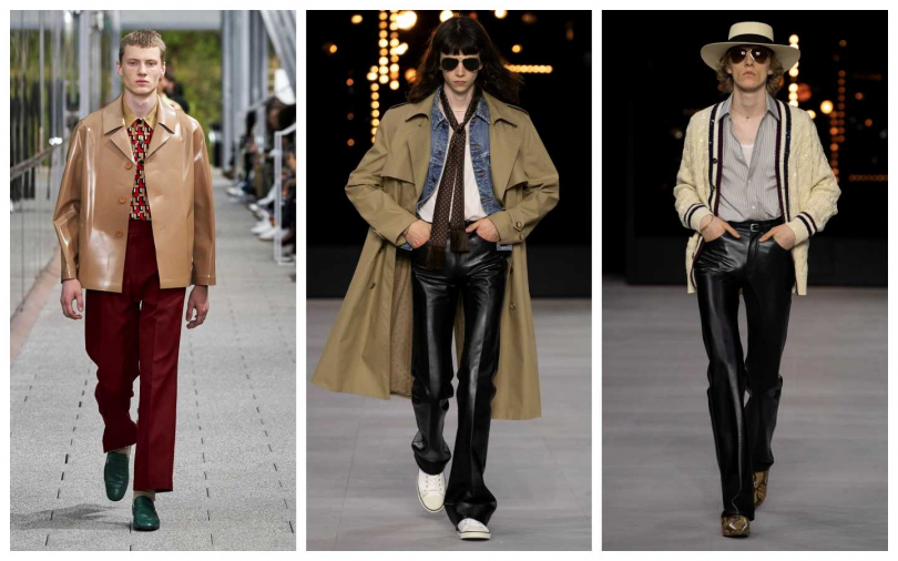 皮衣、皮褲重返時尚圈。(左)Lacoste;(中、右)Celine。(圖/品牌提供)