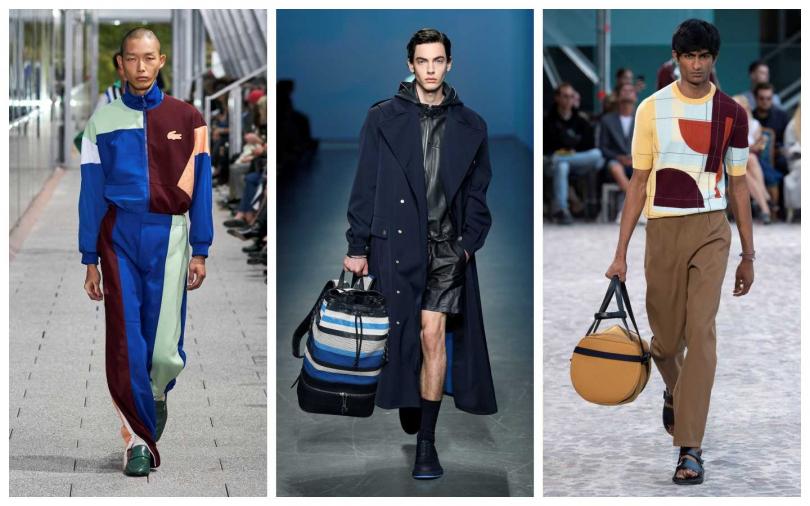 多色拼接成為男裝耍可愛的一大俏皮重點。左起:Lacoste、Boss、Hermes。(圖/品牌提供)