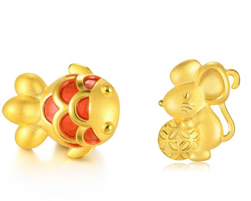點睛品「Charme文化祝福」系列,(左)足金金魚串飾╱7,400元;(右)「Pet Chat」系列,999.黃金金錢鼠吊墜╱價格店洽(圖片提供╱點睛品)