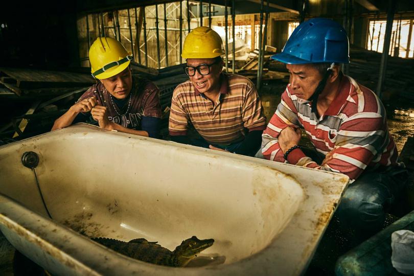 李銘順(右)、游安順(中)、薛仕凌(左)在工地裡偷養鱷魚,劇情笑料百出。(圖/大慕影藝提供)