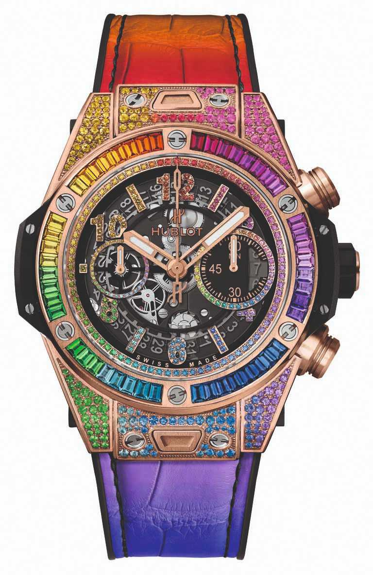HUBLOT「Big Bang Unico彩虹寶石」計時碼錶╱緞面拋光18K皇金錶殼,彩色寶石436顆,45mm╱2,845,000元。(圖╱HUBLOT提供)