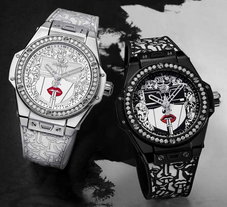 HUBLOT「2020 Big Bang One Click唇膏腕錶」:(左)精鋼款,39mm╱569,000元;(右)陶瓷款,39mm╱602,000元。(圖╱HUBLOT提供)