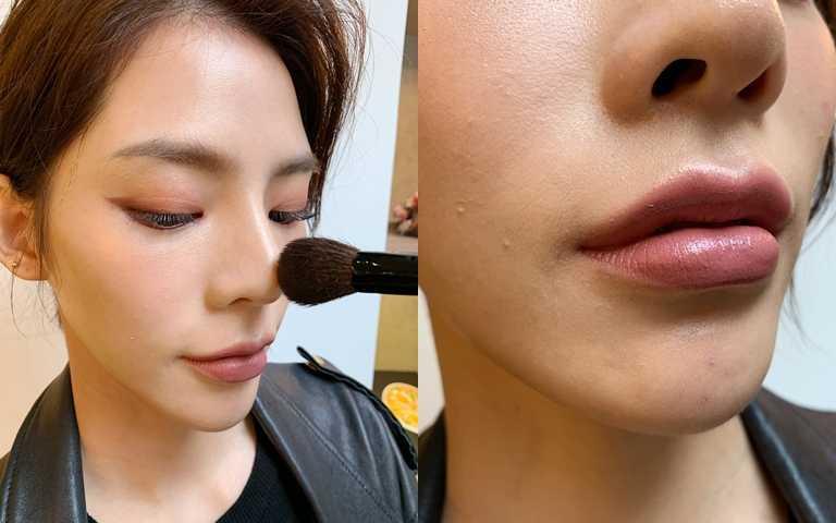 米白色的打亮色相當實用,彩妝老師建議除了刷鼻樑增加立體度,也能輕刷一點在唇峰,變身QQ嘟嘟唇。(圖/吳雅鈴攝影)