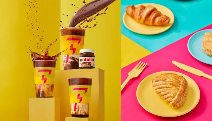 閃電特調系列(左)的「榛果可可歐蕾」、「桂花拿鐵」、「沙灘拿鐵」,除了咖啡品牌也推出3款點心。