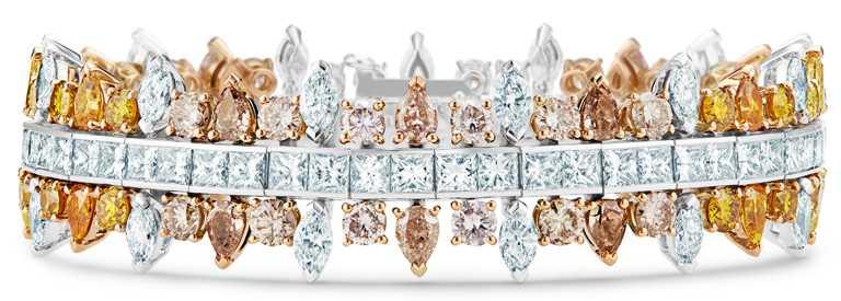 DE BEERS「Reflections of Nature」系列高級珠寶,Motlatse Marvel鑽石手環,鑽石總重26.98克拉。(圖╱DE BEERS提供)