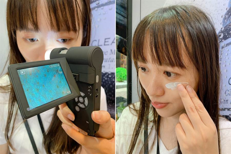 藉由這台毛孔檢測儀器,能放大直擊妳的肌膚毛孔粗大問題;接著再親自體驗這次的新品「泥娃娃活性碳控油清爽凝凍」。