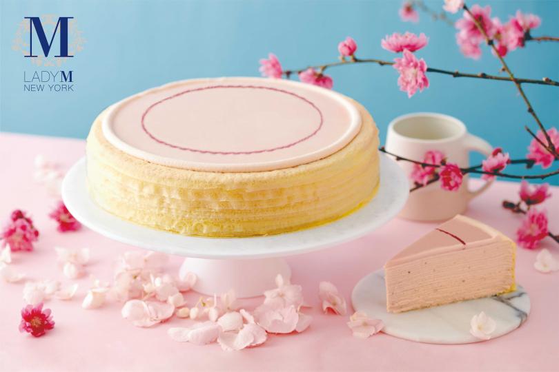櫻花莓果千層蛋糕(單片280元,九吋2800元)(圖/Lady M)