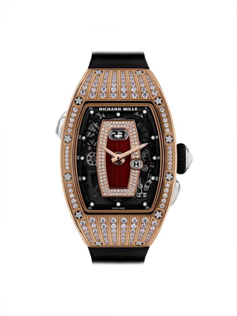 RICHARD MILLE「RM 037系列」紅金鑲鑽腕錶╱價格店洽。(圖╱RICHARD MILLE提供)