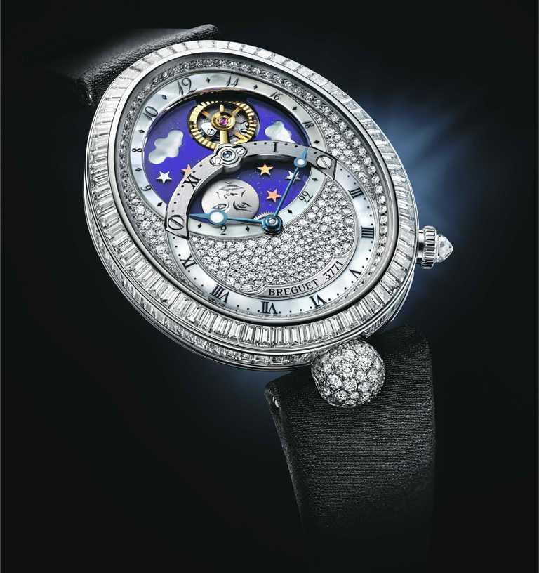 BREGUET「Reine de Naples 8999日月星辰滿天星」白K金鑽錶╱7,266,000元。(圖╱BREGUET提供)