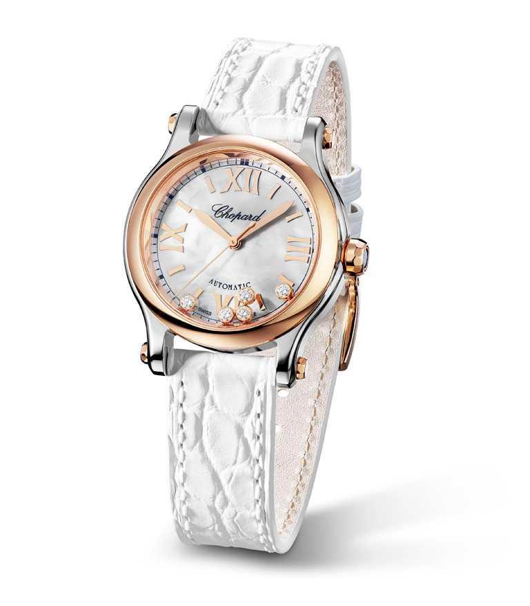 Chopard「Happy Sports系列」腕錶,拋光款╱262,000元。(圖╱Chopard提供)