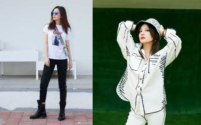 趙薇頻頻在IG上曬出自己穿搭FENDI California Sky系列的配件和服裝。(圖/ig)