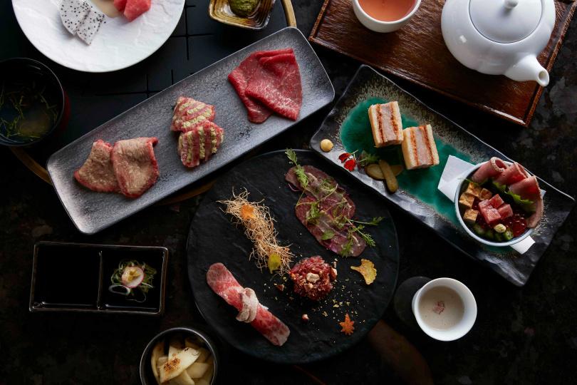 「秋陽套餐」,從食材到配色都充滿秋天詩意。(圖/和牛47 和牛燒肉懷石提供)
