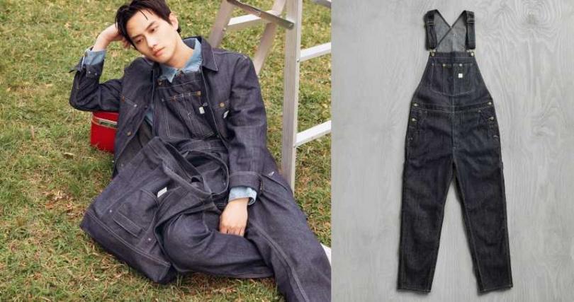 范少勳則是穿上原色丹寧吊帶褲與丹寧外套,展現難以抵擋的無限青春氣息。 LEE X H&M 聯名系列丹寧吊帶褲/1799元(圖/品牌提供)