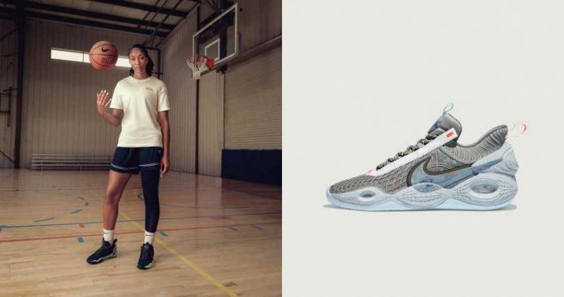 明亮的配色:黑搭配薄荷綠、灰與水藍,以及多彩的組合,無論場上還是日常都能自在搭配。Nike Cosmic Unity Space Hippie 配色永續藍球鞋/價格未定。(圖/品牌提供)