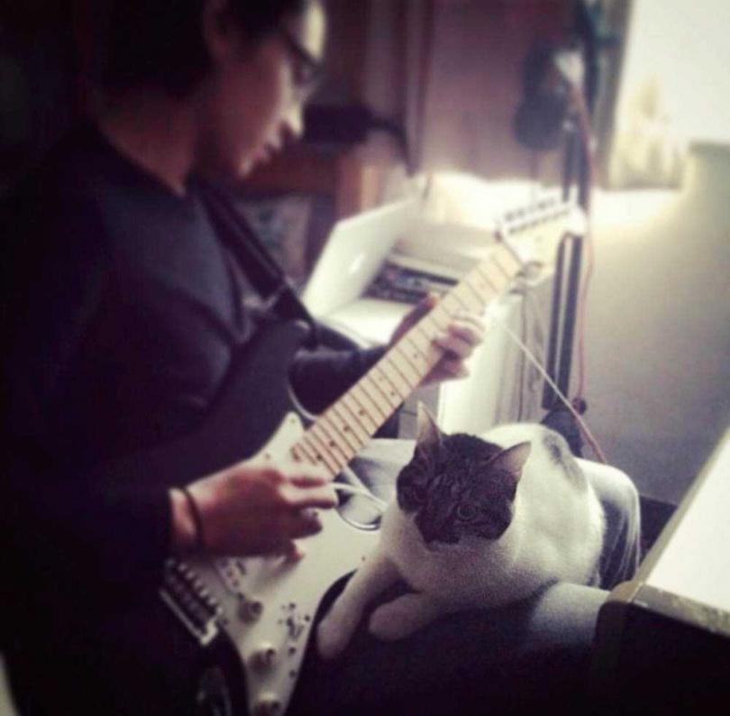 飯飯很懂音樂鑑賞,宋柏緯彈吉他,飯飯就會靠近聽,甚至還跟著唱。(圖/翻攝自宋柏緯IG)