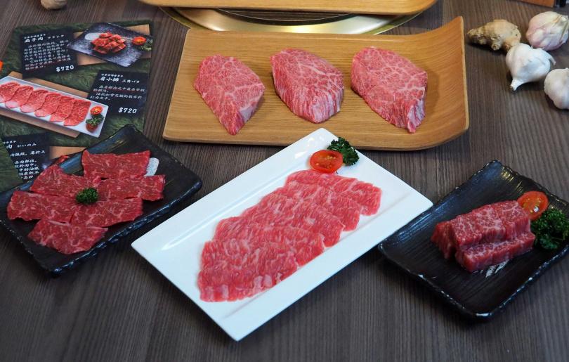 下左至下右依序為「腹心肉」、「肩小排」、「扇子肉」。(圖/魏妤靜攝)