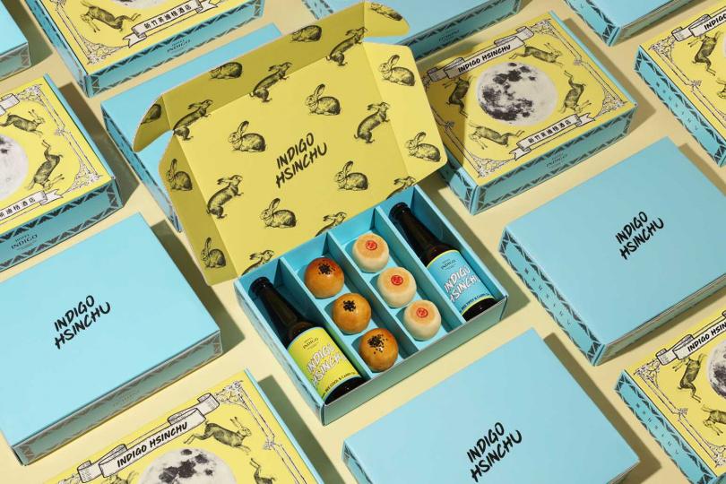 新竹英迪格酒店推出「夜光中秋禮盒」蛋黃酥綠豆凸兩款月餅共6顆。(圖/新竹英迪格酒店)
