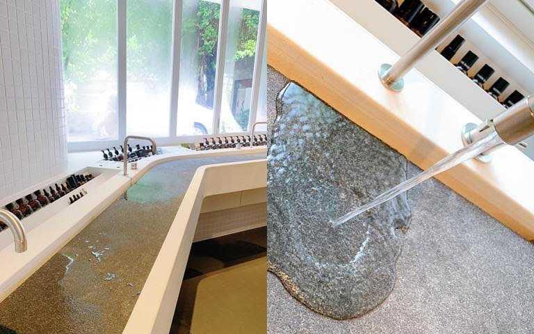 水槽區的石板是採用可吸水性的材質,不怕水花四濺。(圖/吳雅鈴攝影)