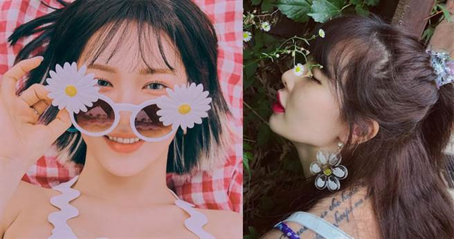 韓國明星Wendy、泫雅都選了小雛菊配件,簡單為日常穿搭加點可愛。【圖/SM Entertainment,hyunah_aa IG】