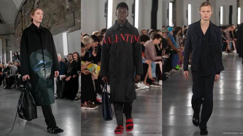 Valentino2019-20秋冬男裝系列時裝秀,以正裝搭配聯名勃肯涼鞋。