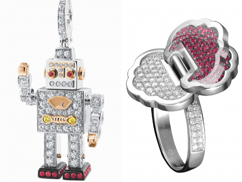 (左)Qeelin「Roobot」系列白金鑲鑽與紅寶石吊墜╱366,000元;(右)Qeelin「Yu Yi」系列18K白金鑲鑽與紅寶石戒指╱196,900元(圖片提供╱Qeelin)