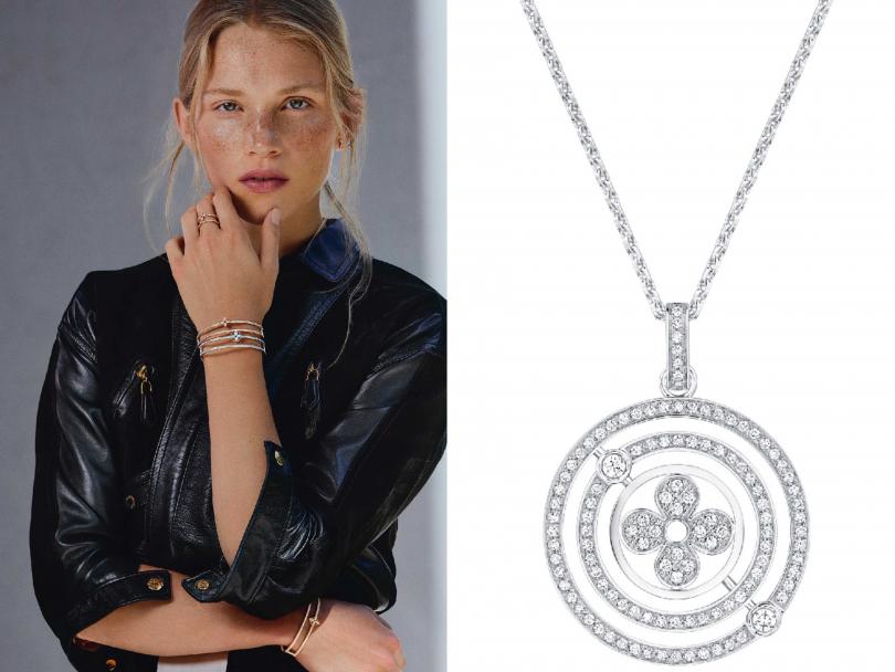 (左)Louis Vuitton「Idylle Blossom」玫瑰K金鑽飾單邊鍊式耳環╱131,000元;黃K金配鑽石手鐲╱435,000元;(右)白K金項鍊配鑽石吊墜╱388,000元(圖片提供╱Louis Vuitton)