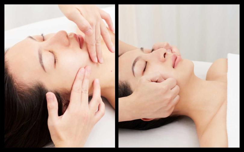 鬆動咀嚼肌:美療師先放鬆我們的微笑肌肉,柔軟緊繃的口輪匝肌(特別是工作上需要常常說話的人,容易緊繃),再以拳柔軟咀嚼肌、內收腮骨,讓側面腮幫子的線條更為柔順。(圖/品牌提供)