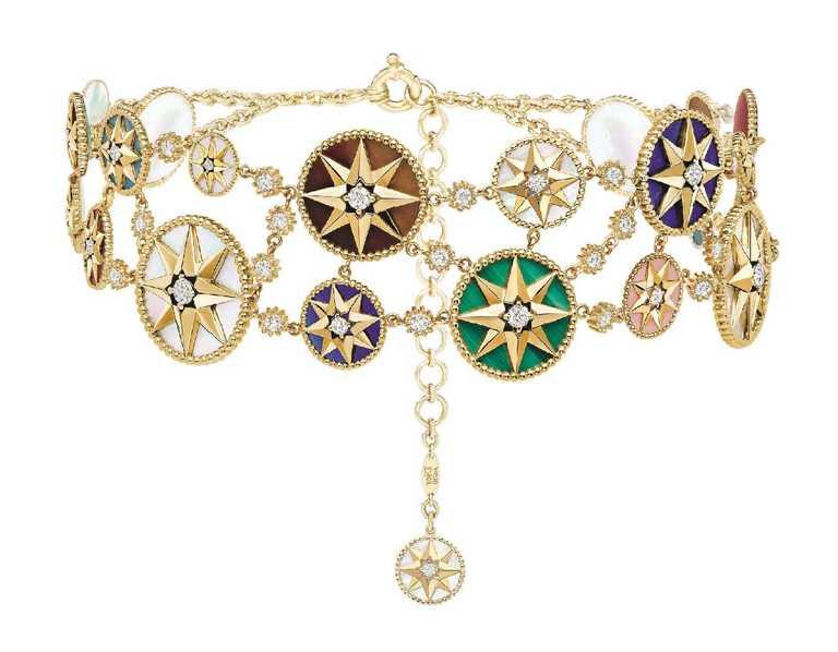 DIOR「Rose des Vents羅盤玫瑰系列」多層次黃K金頸鍊╱1,700,000元。(圖╱DIOR提供)