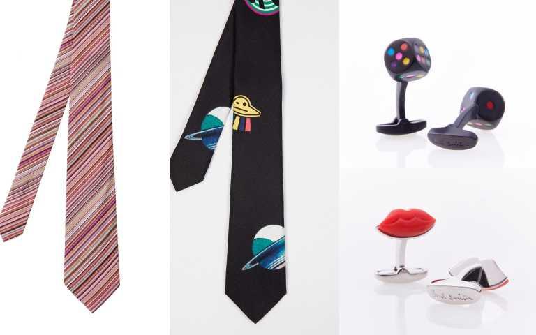 Paul Smith 經典彩條領帶/5,800元、彩色骰子袖扣/5,300元、紅脣造型袖扣/5,300元;PS by Paul Smith 幽浮領帶/5,800元(圖/品牌提供)