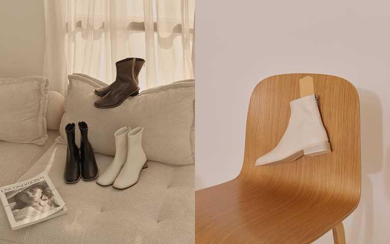 ETUDE leather shop經典車線中跟短靴共3色原價NT2,560、優惠價NT1,280;俐落方頭平底短靴共3色原價NT2,560優惠價NT1,280。(圖/Grace Gift)