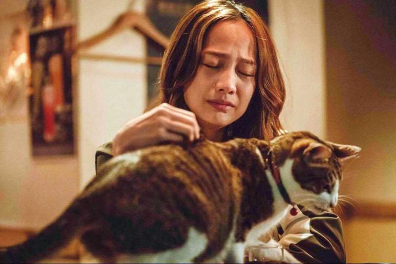 簡嫚書在《黑喵知情》中,看似冷傲,內心卻藏著傷痛,有時會向動物宣洩悲傷情緒。(圖/LINE TV提供)